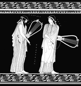 Sappho and Alcaeus holding lyres.